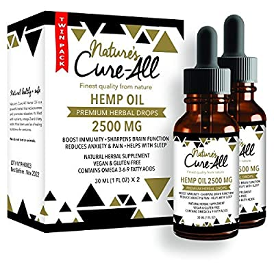 Powerful Hemp Oil Tincture- 2500mg, Organic Hemp Oil for Anxiety, Pain & Stress Relief, Provides Quality Sleep, Natural Dietary Supplement, Rich in Omega 3-6-9, Grown & Made in USA (Pack of 2) from Nature's Cure-All