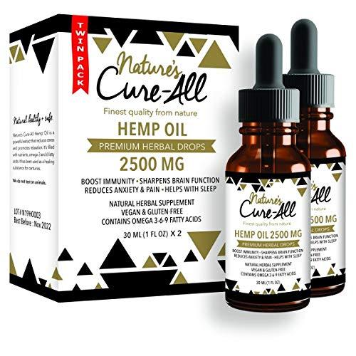Premium & Powerful Hemp Extract 2500mg, Natural Herbal Hemp Drops, Soothing Mint, 2 Pack