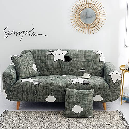 ASCV Funda de sofá Gris de Alta Elasticidad, Funda de sofá con patrón de Colores, Funda de sofá Universal Ultrafina, Funda de sofá pequeña, Mascotas para niños A5 2 plazas