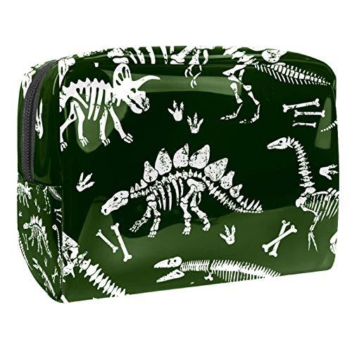 Bolsa de maquillaje portátil con cremallera bolsa de aseo de viaje para las mujeres práctico almacenamiento cosmético bolsa dinosaurios cráneo