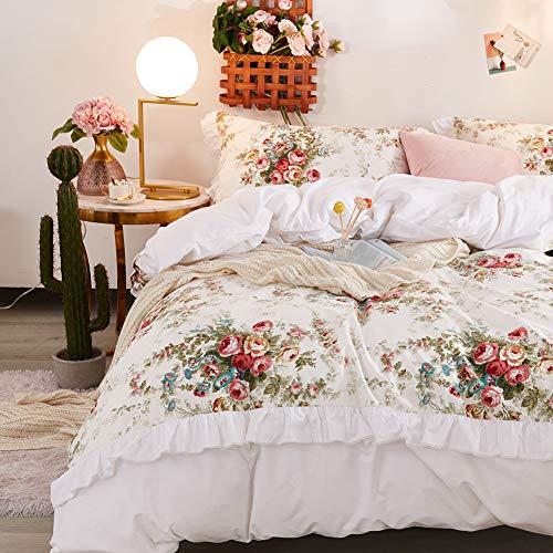 FADFAY Floral Bedding Premium 100% Cotton Shabby Vintage Rose Print Elegant Ruffled Lace Bedding 3 Piece:1 Zipper Duvet Cover(No Comforter), 2 Pillowshams (White/Floral, King)