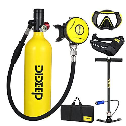 SELMAL Equipo de Oxígeno para Bucear Bombona Oxigeno Portatil Mini Botella de Buceo de 1 litro con Capacidad de 15-20 Minutos Buceo De Oxígeno del Mini Tanque