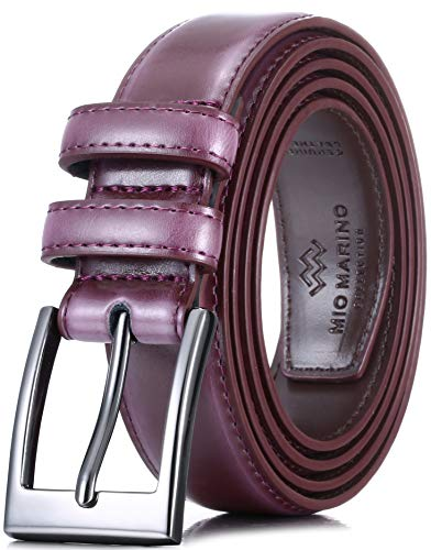 Marino's Men Genuine Leather Dress Belt with Single Prong Buckle - Burgundy - 34 (Waist: 32)