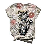 Weant Damen Cartoon Esel Bedrucktes T Shirt Kurzarm Animal Print O Ausschnitt Grafik Casual Tops Tee Shirt Oberteile Hemd Tops Bluse Tee Shirt Baumwollshirt