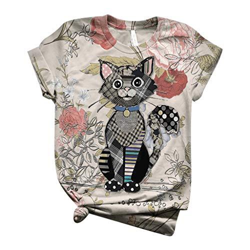 ELECTRI T-Shirt Graphique imprimé Animal Mignon pour Femmes d'été lâche décontracté à Manches Courtes Hauts Girafe Chat Chien Vache Dessin animé T-Shirt Hauts