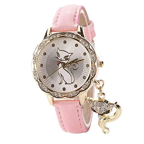 Ogquaton Reloj de Pulsera de Cuarzo con Colgante de Zorro y Diamantes de imitación para Mujer