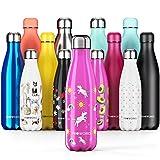 Proworks Botellas de Agua Deportiva de Acero Inoxidable | Cantimplora Termo con Doble Aislamiento para 12 Horas de Bebida Caliente y 24 Horas de Bebida Fría - Libre de BPA - 500ml – Rosa - Unicornio