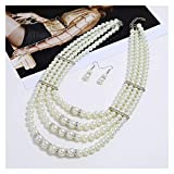 DSJTCH Americana Collar de Perlas de múltiples Pisos Eargos exagerados Joyería Joyería Conjunto Accesorios Nuevos artículos (Color : Silver)