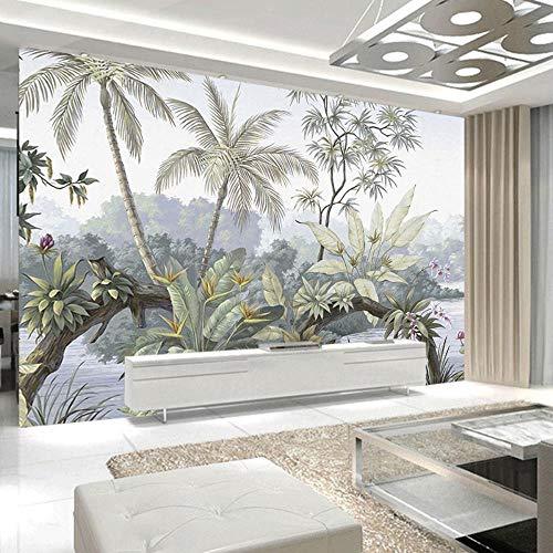 NXMRN Custom 3D Foto Wandbild Aquarell Pflanzen von Tropical Lake Tapete für Wohnzimmer Schlafzimmer Home Interior, 400x280cm