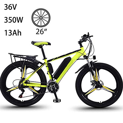 QAZWSX Electric Bikes for Adult, Magnesium Alloy Ebikes Bicycles All Terrain, Max Speed 35Km/h, 26' 36V 350W 13Ah Removable Lithium-ion Battery Mountain Ebike for Men Women City Commuting,Green