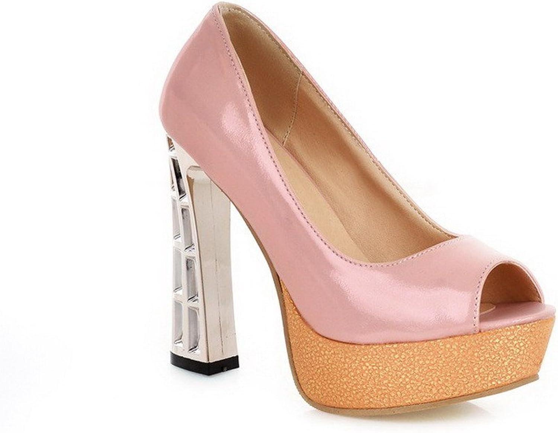 WeenFashion Women's Pull On Peep Toe High Heels Pu Assorted color Sandals
