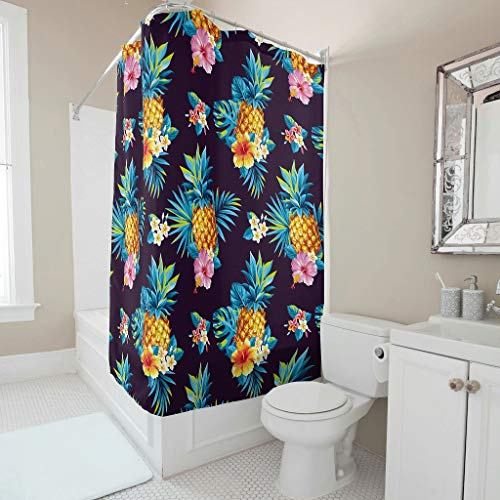 Toomjie ananas fruit patroon gedrukt decoratieve douchegordijn met gratis haken klassieke wasbare badkamer douchegordijnen bad gordijn cadeau voor familie