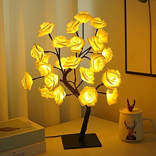 YHNHT Lámpara de mesa de 50 cm, lámpara de árbol de rosas con 24 luces LED, funciona con USB, decoración de árbol de luz artificial para el hogar, boda, Navidad, decoración de Navidad