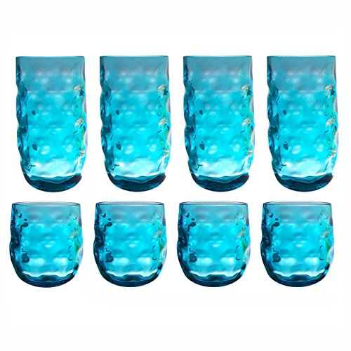 QG Clear Colorful Acrylic Plastic 14 & 22 oz. Cup Drinking Glass Tumbler Set of 8 Blue
