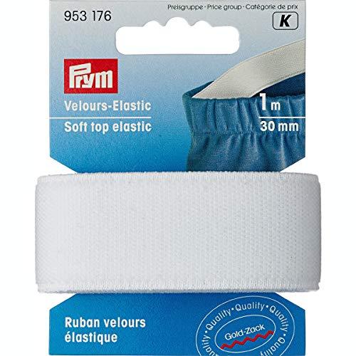 Prym Velour-Elastic 30 mm weiß, 51% PES 33% ED 16% PA