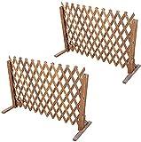 Garden Fence 2 Stück Rankgitter Holzzaun Ausziehbar bis 160cm Zusammenfaltbar Variabel Verstellbar Freistehend Garten Balkon Terrasse Natur Gartenzaun Holzzaun