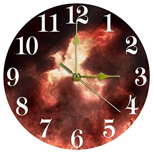 Yoliveya Stille Wanduhr rund hängende Uhr Firebird Phoenix Nebel, nicht tickende Zeit Heimdekoration für Küche Schlafzimmer Wohnzimmer Dekor batteriebetrieben 25,4 cm