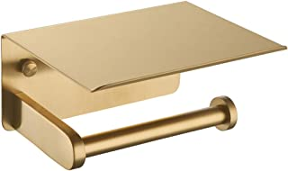 Toilet Paper Holder with Phone Shelf Brushed Gold, APLusee SUS 304 Stainless Steel Contemporary Tissue Roll Organizer Phon...