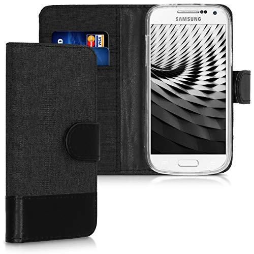 kwmobile Samsung Galaxy S4 Mini Hülle - Kunstleder Wallet Case für Samsung Galaxy S4 Mini mit Kartenfächern & Stand - Anthrazit Schwarz