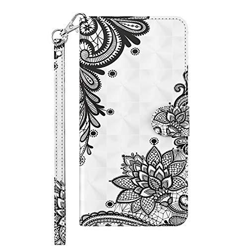 TYWZ Kompatibel mit Samsung Galaxy A30S Hülle,PU Leder Hülle Wallet Flip Case Cover Schutzhülle Handyhüllen Schale mit Ständer Kartenfach Magnetisch-Schwarz Blume