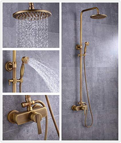 HWLY Duscharmatur, Vintage-Design, Messing, inkl. Regenduschkopf, Duschhahn und Badewanne, Ausführung in antikem Messing