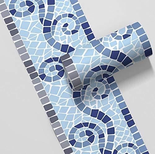 Tapetenbordüre, selbstklebend, grau, blau, wasserdicht, PVC, dekorative Bordüre für Badezimmer, Wohnzimmer, Küche, 10 x 500 cm