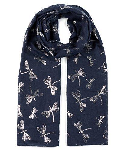 Monde de paillettes Châles Grand Foulard pour femme Motif libellule pour femme foulard doux écharpes - bleu - Taille unique