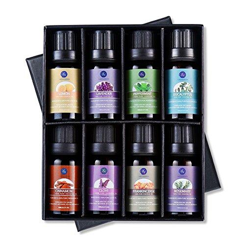 Lagunamoon Essential Oils  Top 8 Gift Set Pure Essential Oils Gift Set for Diffuser, Humidifier, Massage, Aromatherapy, Skin & Hair Care