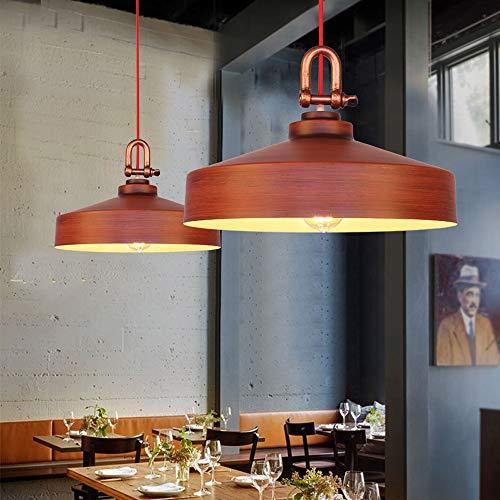 Lámpara colgante retro redonda industrial vintage de metal antiguo, lámpara de techo nostálgica, decoración para comedor, cocina, salón, dormitorio, lámpara de techo E27, 1 foco, diámetro de 40 cm
