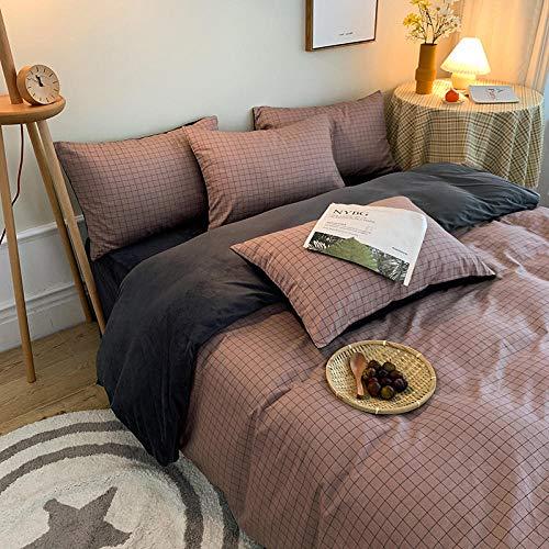 juego de funda nórdica 260x240-Cama individual reversible de franela de cuatro piezas sobre cama de algodón puro en otoño e...