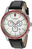 Victorinox Alliance Stainless Steel Swiss-Quartz Watch with Leather Strap, Black, 21 (Model: 241819)