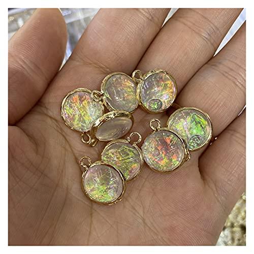 クリスタルラフ 2個の石のペンダント人工的なオパール石の魅力の水滴ファン卵の丸形の不規則な形の宝石類 (Metal color : Round 12mm)