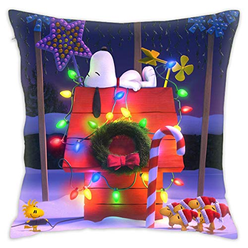 CIBUDAYI Snoopy Christmas Pillow Cover Funny Charlie Brown Decorative Throw Pillow Cover Kids Cartoon Theme Pillow Case 18 x 18 inch-one_Color-