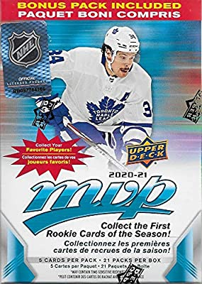 2020 2021 Upper Deck MVP NHL Hockey Series Unopened Blaster Box of 21 Packs with Chance for Rookies Plus #1 Draft Picks Cards and Blaster Exclusive Gold Scripts