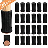 Ezprotekt 24PCS Chair Leg Socks High Elastic Furniture Socks Pads Non-Slip Chair Leg Feet Socks Covers Furniture Caps Set, Fit Furniture Feet Girth from 3' to 5',Knitted Furniture Cups Black