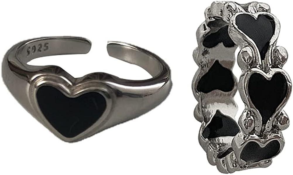 Gothic Vintage Ring Set Black Heart Stackable Statement Retro Punk Open Knuckle Finger Ring for Women Girls