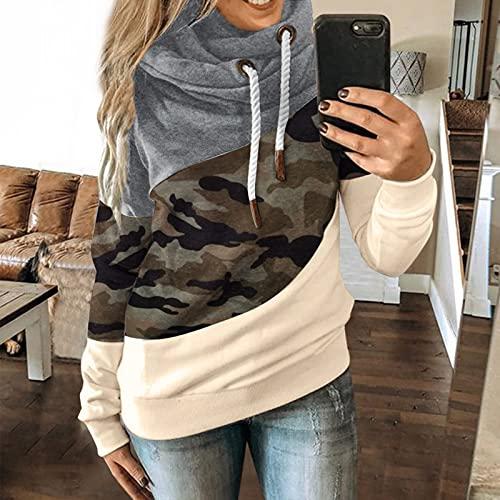 Damen Pullover mit Kapuze Herbst Winter Sweatshirt Splicing Kapuzenpullover Oversized Bluse Leicht Gemütliche Tops Angenehm Pulli Einstellbar Kordel Streetwear