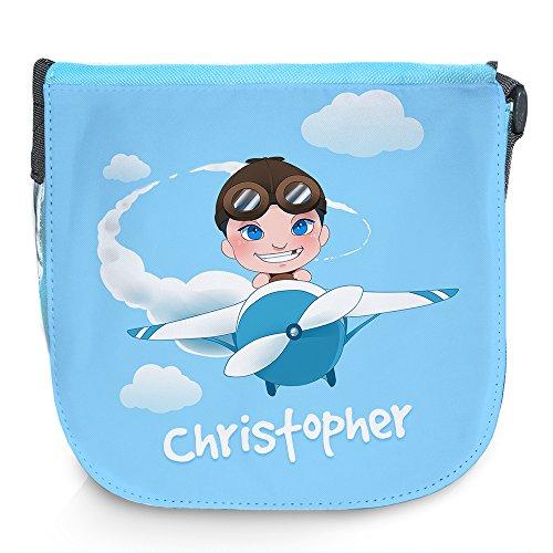 Umhängetasche für Kinder mit Namen Christopher und schönem Motiv mit Pilot und Flugzeug | Schultertasche für Jungen