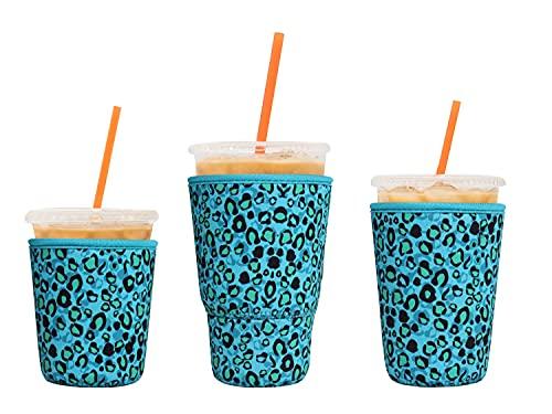 LOVAC Wiederverwendbare Eiskaffeehüllen für kalte Getränke, Neopren-Becherhalter für Starbucks-Kaffee, McDonald-Kaffee, Dunkin-Kaffee, mehr (Leopard2)