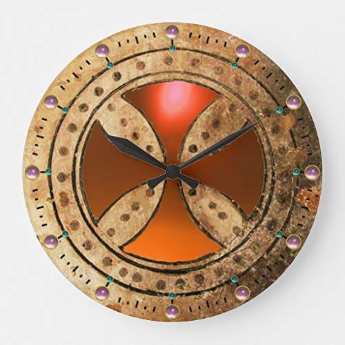 wendana Antique Templar Cross Orange Agate Gem Modern Rustic Wood Wall Clocks,Farmhouse Clocks for Walls,Wall Clocks for Living Room Nursery Bedrooms Kids,12 inches