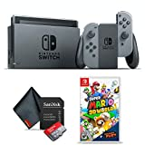 Nintendo Switch Gray (HADSKAAAA) Gaming Console Bundle with Super Mario 3D World + Bowser's Fury Game, 64GB microSD Memory Card, and 6Ave Cleaning Cloth