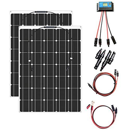 YUANFENGPOWER 200 watt 12 v Flexible Solarpanel Kit 2 x 100w 18v Einkristallines Modul + 20A Solarregler für Boot Auto Wohnmobil Caravan Home 12 v Ladegerät (200w)