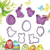 Kagodri Molde de galletas de Pascua, 9 piezas de molde de conejo de dibujos animados, molde de cortador de galletas, molde de fondant, suministros de bricolaje
