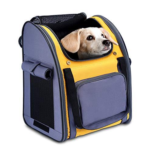 HAPPY HACHI Tragbare Haustier Tragetasche Atmungsaktiv Katze Rucksack für Reise Outdoor mit Verstellbare Gepolsterte Schulterriemen für Hunde Katze kleine Tiere (Grau und gelb)