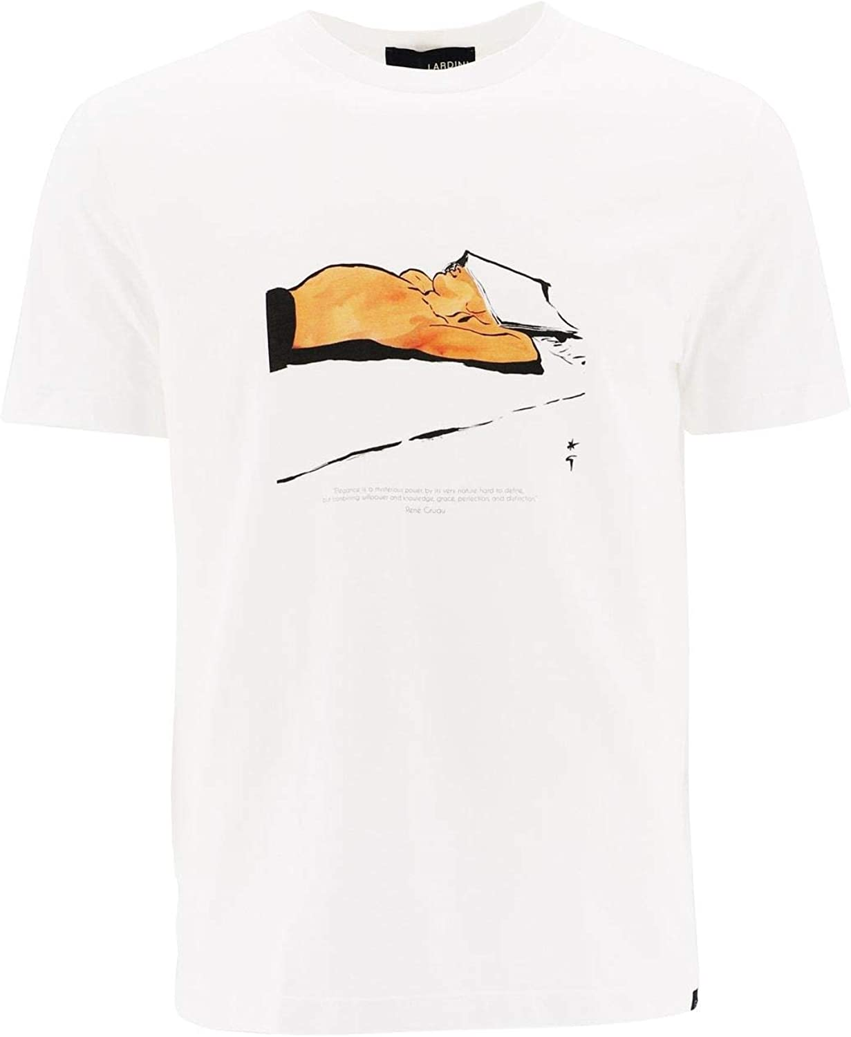 LARDINI Men's EG521802 White Cotton TShirt