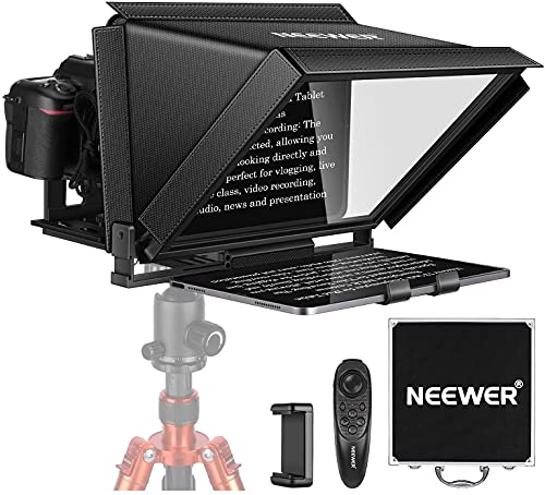 Neewer X12 Teleprompter for iPad Tablet Smartphone DSLR Cameras with Remote Control, APP Compatible with iOS/Android for Online Teaching/Vlogger/Live Streaming, Carry Case Included