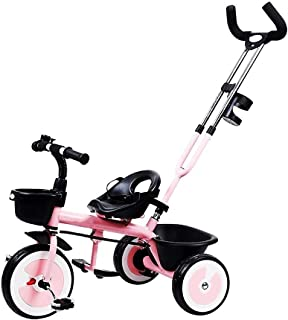 Tricycle multifunctional children tricycle baby bicycle rotating trolley (Color : Yellow) JB-Tong