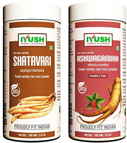 IYUSH Herbal Ayurveda Ashwagandha Shatavari Powder - 100gm each