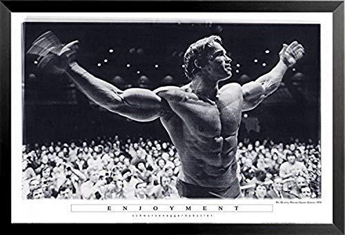 Buyartforless Framed Enjoyment - Arnold Schwarzenegger Mr Olympia Madison Square Garden 36x24 Photograph Art Print Poster Pumping Iron