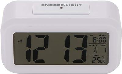 Powstro - Reloj Despertador Digital con batería y Pantalla LCD, Sensor de luz Nocturna,